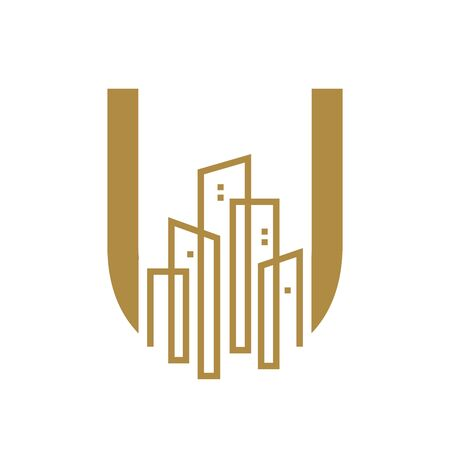 Simple and Luxury illustration  design initial letter U gold city / urban.