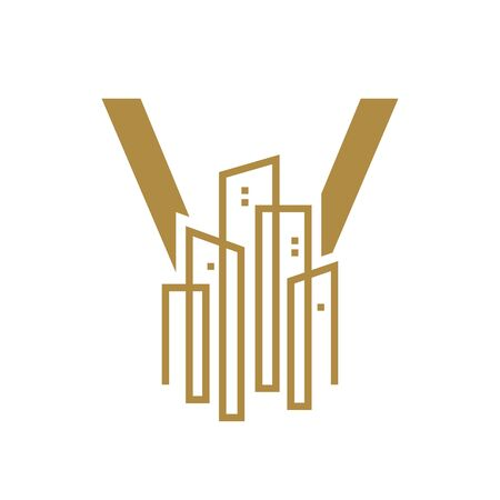 Simple and Luxury illustration design initial letter V gold city / urban. Banque d'images - 144932217