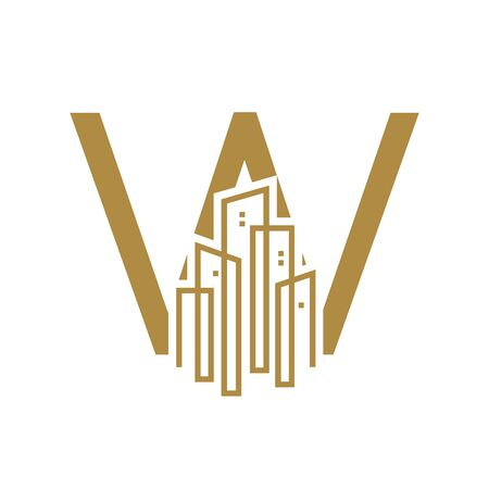 Simple and Luxury illustration design initial letter W gold city / urban. Banque d'images - 144932222