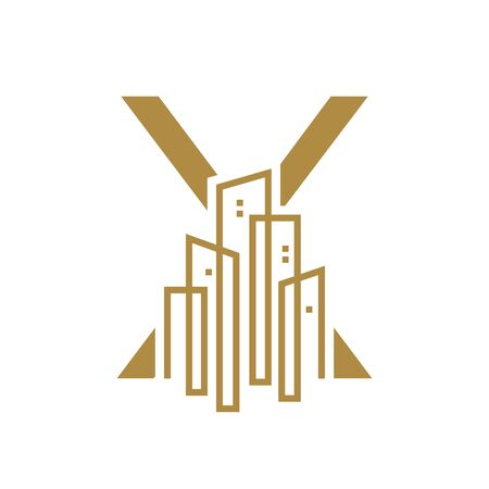 Simple and Luxury illustration design initial letter X gold city / urban. Illustration