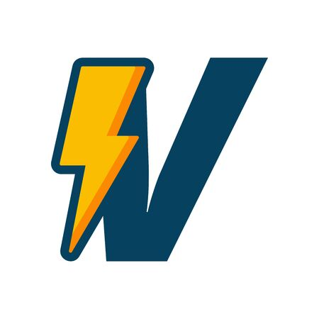 Simple illustration logo design initial V combine with bolt.
