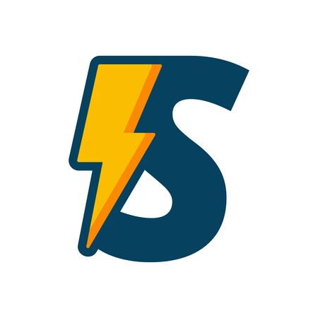 Simple illustration logo design initial S combine with bolt.