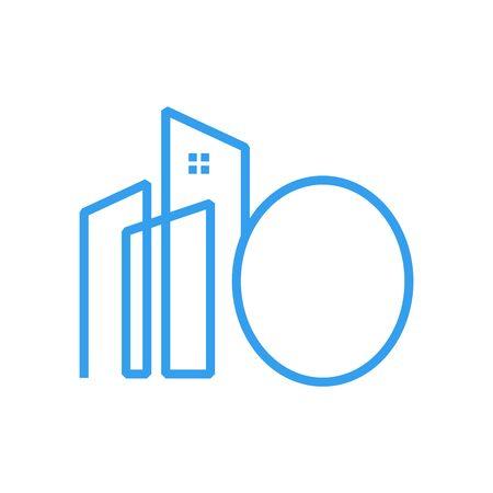 Simple design Mono line City combine with letter O