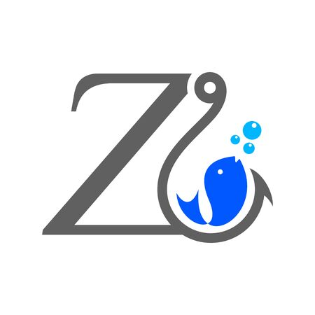 Simple and Clean logo design Initial Z combine with hook and fish.