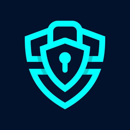 Simple illustration logo design Security, combining shield and lock. Logo