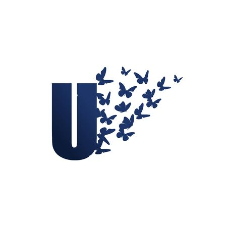 Simple and charming illustration logo design initial U Butterfly freedom. Ilustracja