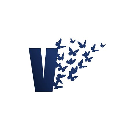 Simple and charming illustration logo design initial V Butterfly freedom.