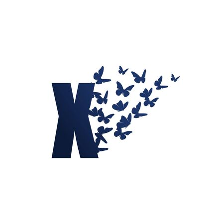 Simple and charming illustration logo design initial X Butterfly freedom.