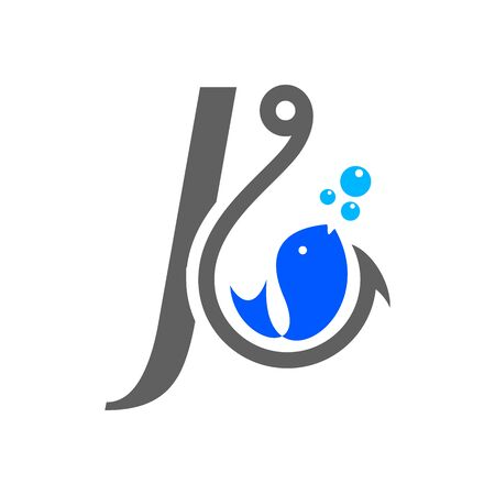 Simple and Clean logo design Initial J combine with hook and fish. Illustration