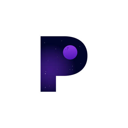 Modern illustration logo design space and moon in initial P Ilustracja