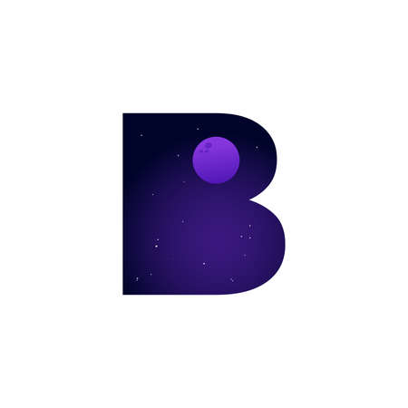 Modern illustration logo design space and moon in initial B Ilustracja