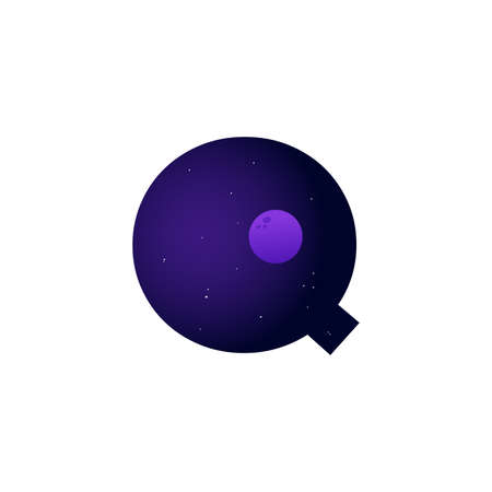 Modern illustration logo design space and moon in initial Q Ilustracja