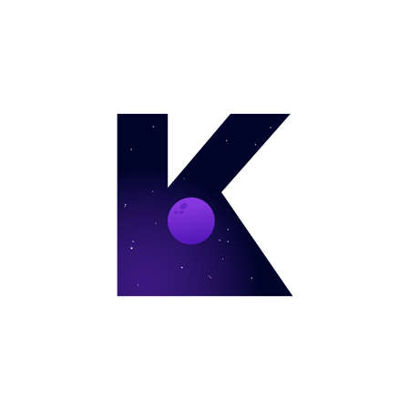 Modern illustration logo design space and moon in initial K