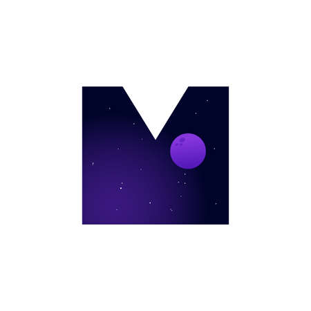 Modern illustration logo design space and moon in initial M