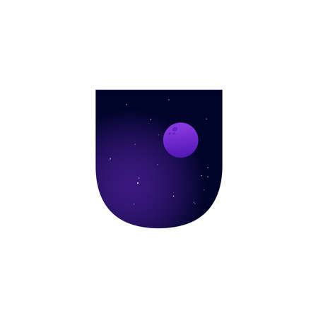 Modern illustration logo design space and moon in initial U