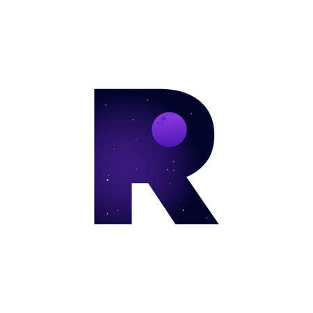 Modern illustration logo design space and moon in initial R Ilustracja