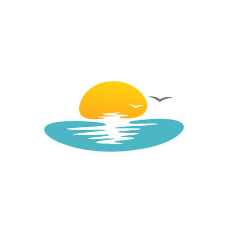 simple illustration logo design horizon
