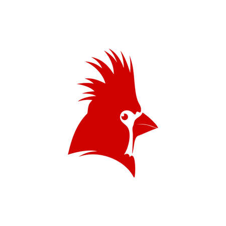Unique illustration logo design red bird.