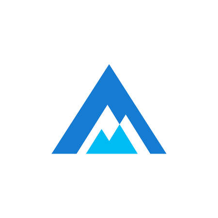 Modern illustration logo design initial A combine with mountain.