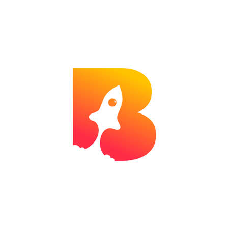 modern logo design combining rocket and initial B