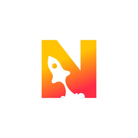 modern logo design combining rocket and initial N