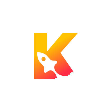 modern logo design combining rocket and initial K