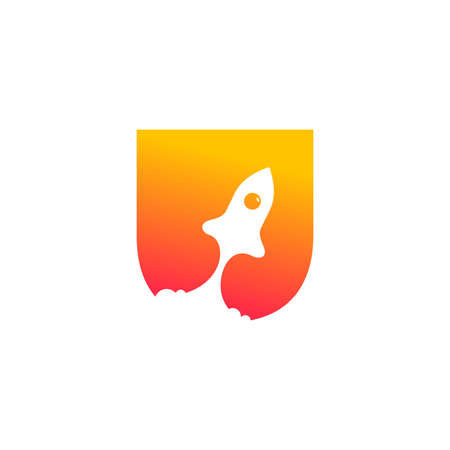 modern logo design combining rocket and initial U