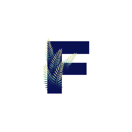 Simple illustration initial F combine with leaf. Ilustracja