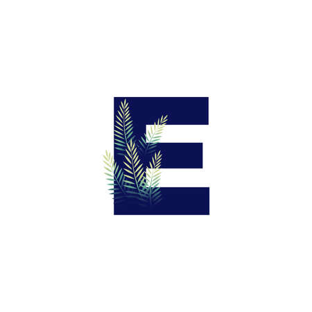 Simple illustration initial E combine with leaf.