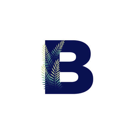 Simple illustration initial B combine with leaf. Ilustracja