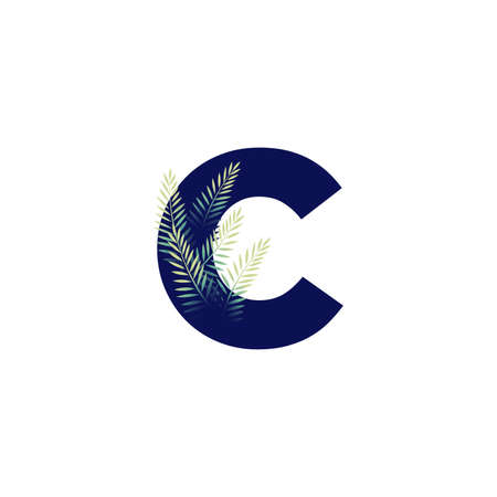 Simple illustration initial C combine with leaf.