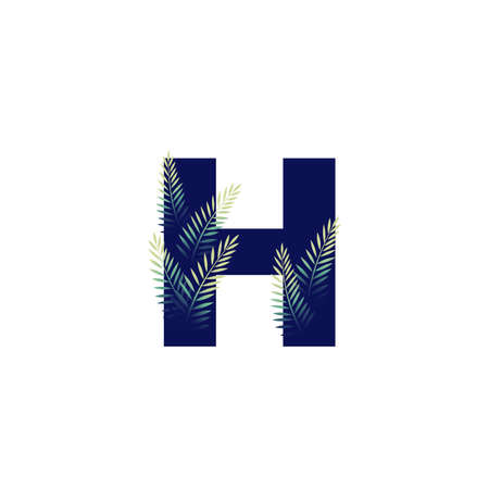 Simple illustration initial H combine with leaf.