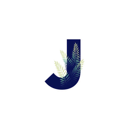 Simple illustration initial J combine with leaf. Ilustracja