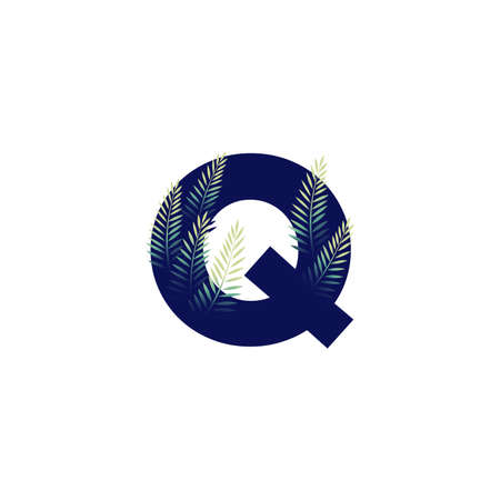 Simple illustration initial Q combine with leaf. Ilustracja