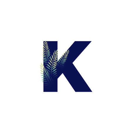 Simple illustration initial K combine with leaf.