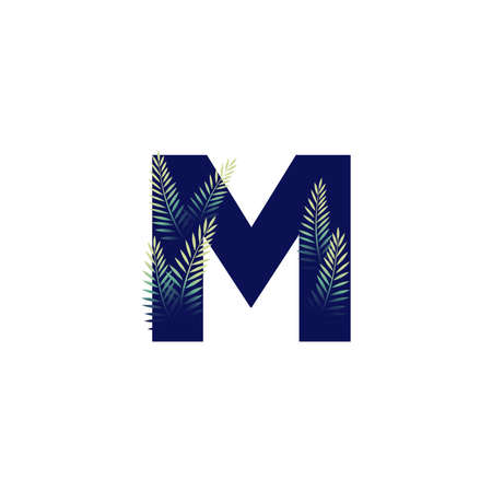 Simple illustration initial M combine with leaf.