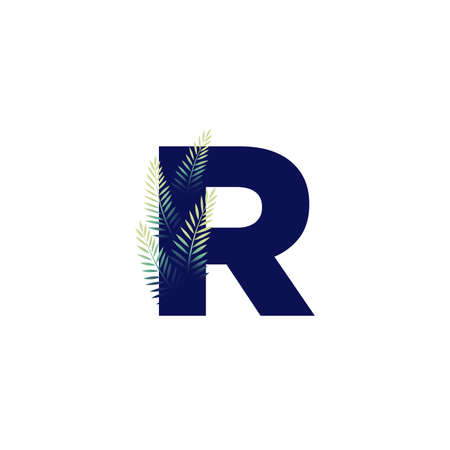 Simple illustration initial R combine with leaf. Ilustracja