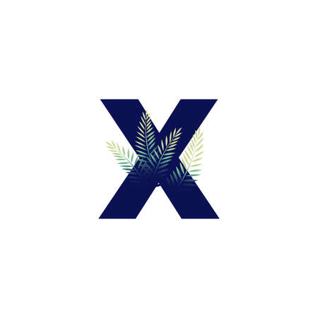 Simple illustration initial X combine with leaf.