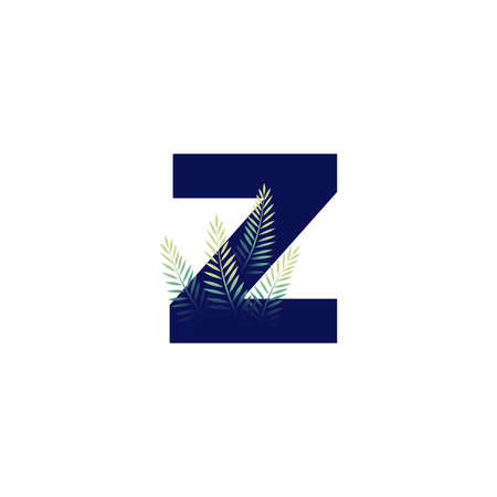 Simple illustration initial Z combine with leaf.