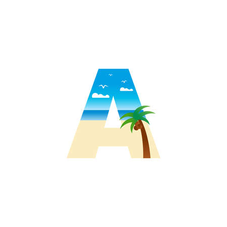 Modern and Exotic illustration logo design initial A shaped like a beach.