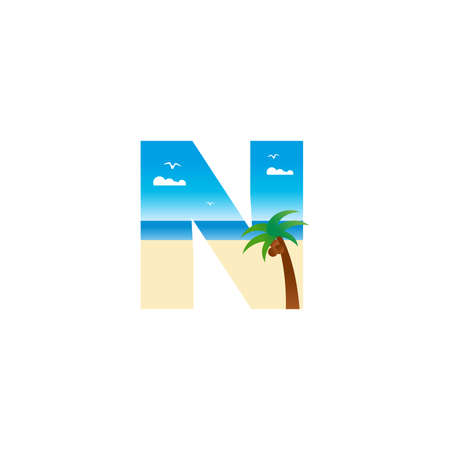 Modern and Exotic illustration logo design initial N shaped like a beach. Ilustracja