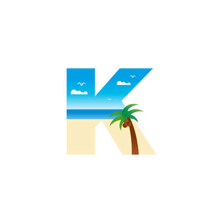 Modern and Exotic illustration logo design initial K shaped like a beach.