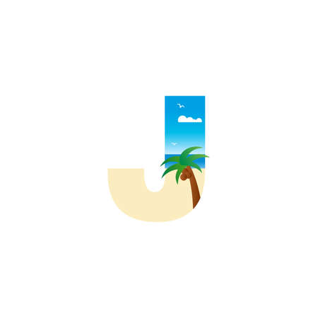 Modern and Exotic illustration logo design initial J shaped like a beach.