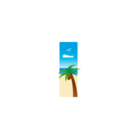 Modern and Exotic illustration logo design initial I shaped like a beach. Ilustracja
