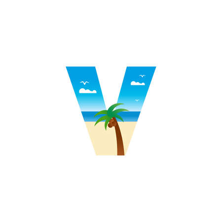 Modern and Exotic illustration logo design initial V shaped like a beach.