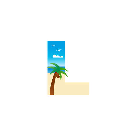 Modern and Exotic illustration logo design initial L shaped like a beach. Ilustracja