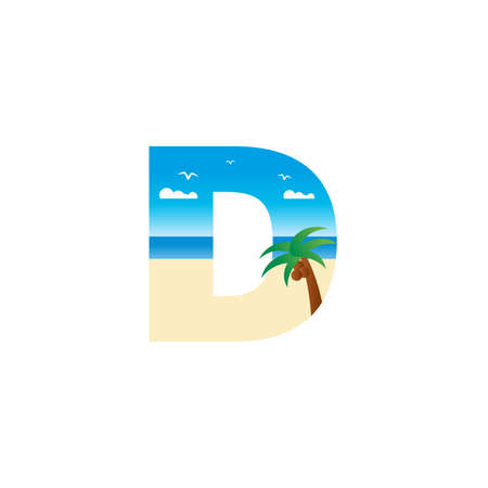 Modern and Exotic illustration logo design initial D shaped like a beach. Ilustracja