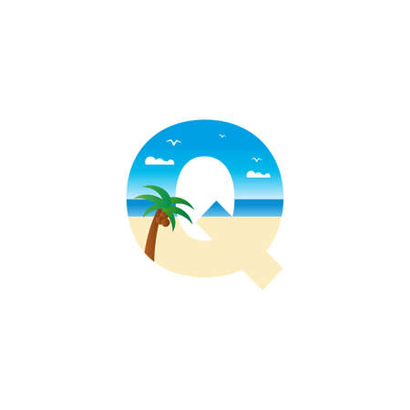Modern and Exotic illustration logo design initial Q shaped like a beach. Ilustracja