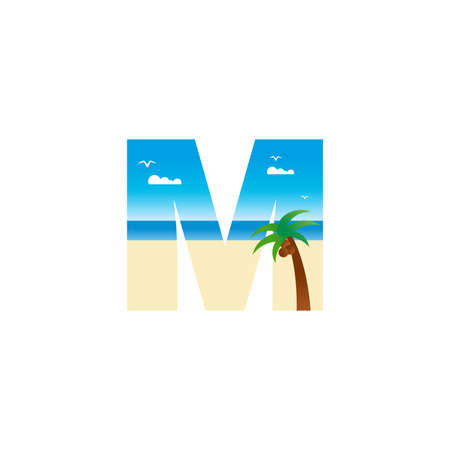 Modern and Exotic illustration logo design initial M shaped like a beach. Ilustracja