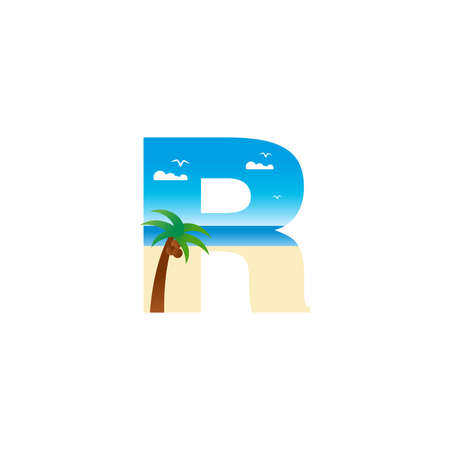 Modern and Exotic illustration logo design initial R shaped like a beach. Ilustracja